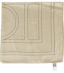 totême embroidered monogram silk scarf