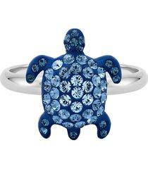 anello mustique sea life turtle, piccolo, blu, placcato palladio