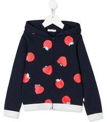 billieblush apple graphic-print hoodie - blue