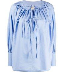 l'autre chose front tie poplin blouse - blue