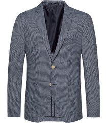 classic blazer in structured yarn-dyed pattern blazer colbert blauw scotch & soda