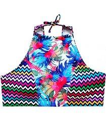bikini peto espalda en v estampado azul samia