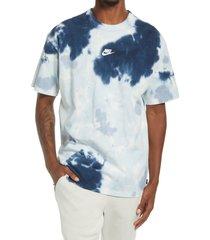 nike sportswear oversize tie dye t-shirt, size xx-large in white/armory blue/ashen slate at nordstrom