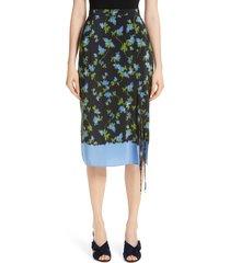 women's altuzarra floral print tie detail silk skirt