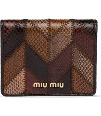 miu miu ayers patchwork wallet - brown