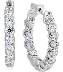 """igi certified diamond small hoop earrings (4 ct. t.w.) in 14k white gold, 1"""""""