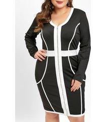 plus size v neck zip up color block ol dress