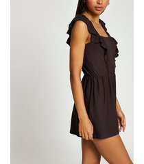 river island womens brown sleeveless frill front playsuit