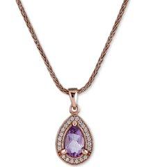 "amethyst (3/4 ct. t.w.) & white topaz (1/4 ct. t.w.) teardrop pendant necklace, 17"" + 1"" extender"