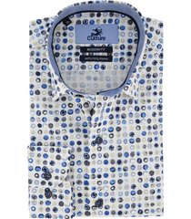 culture overhemd mouwlengte 7 blauw motief