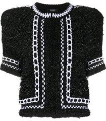 balmain cropped tweed mesh jacket - black