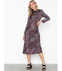 topshop leopard bias pussybow dress långärmade klänningar