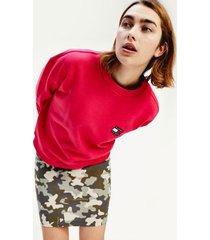 tommy hilfiger women's organic cotton badge sweatshirt blush red - xl