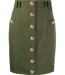 balmain short single-breasted skirt - green