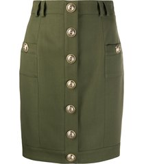 balmain short single-breasted skirt - green
