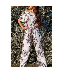 trendy off shoulder zomer jumpsuit wit