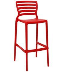 cadeira alta em polipropileno sofia 104,5x49,5x47cm vermelha