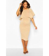 maternity double layer midi dress, sand