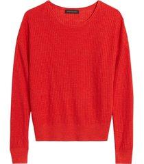sweater lino ribbed roll rojo banana republic