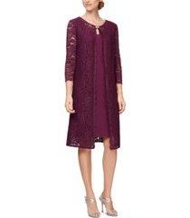 alex evenings sheath dress & long lace jacket