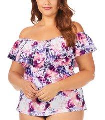 raisins curve trendy plus size juniors' torquay tie dye printed tortuga flounce tankini top women's swimsuit
