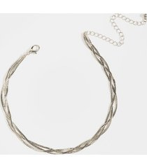 women's jaylah braided snake chain necklace in silver by francesca's - size: one size