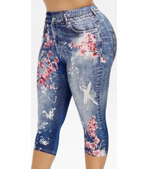 plus size 3d denim print peach blossom cropped leggings