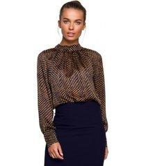 blouse style s236 effen chiffon jurk - zwart