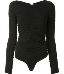 khaite ruched v-neck bodysuit - black