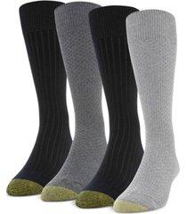 gold toe men's 4-pack basket weave & rib socks