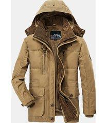 uomo giacca imbottita calda con cappuccio staccabile e multitasche in colore a tinta unita