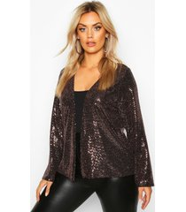 plus sequin metallic collarless jacket, rose gold