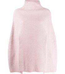 pringle of scotland cropped ribbed poncho - pink