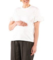 women's loyal hana joey ruffle sleeve maternity/nursing t-shirt, size small - white