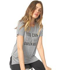 blusa lunender lettering cinza - cinza - feminino - viscose - dafiti