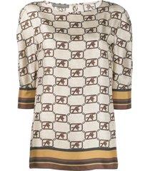 alberta ferretti flared style blouse - brown