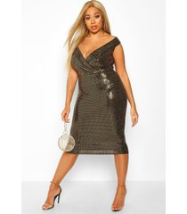 plus sequin bardot midi dress, gold