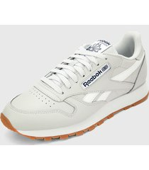 tenis running gris-blanco reebok cl leather mu