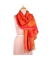 jamawar wool scarf, 'fiery paisleys' (india)
