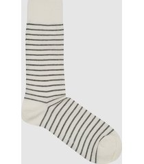 reiss roger - cotton blend striped socks in ecru/navy, mens