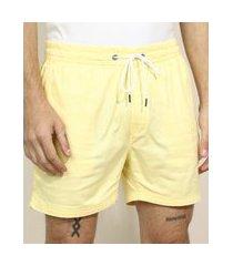 short de sarja masculino com cordão e bolsos amarelo