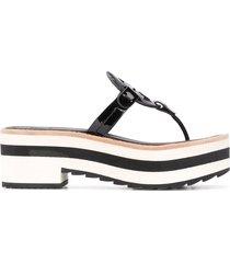 tory burch platform thong sandals - black