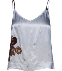 heavy satin t-shirts & tops sleeveless blauw ganni