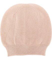 fabiana filippi round top fine knit beanie hat - pink