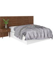 cabeceira box de casal extensível 100% mdf toscana 1,40x1,60 jacarandá madeirado robel móveis
