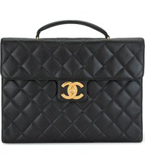 chanel pre-owned jumbo diamond quilt cc briefcase - black
