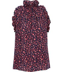 frame women's floral flounce silk sleeveless top - navy multi - size s