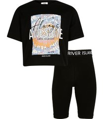 river island girls black tie dye t-shirt and shorts outfit