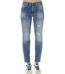 dondup distressed cotton denim jeans