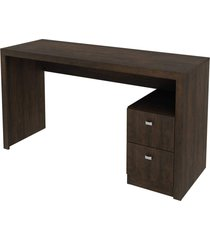 mesa 2 gavetas rustico tecno mobili marrom